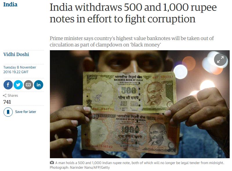 В Индии «в интересах граждан»  запретили крупные банкноты