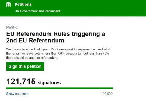 В Великобритании подана петиция о пересмотре результатов референдума